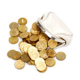 Open purse with gold coins. Isolated on white Stock Image