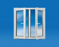 Open Pvc Windows. White open pvc window and cloudy sky Royalty Free Stock Photos
