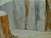 An open marble pit mine in Carrara in Italy Royalty Free Stock Images