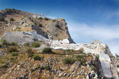 Open quarry with white marble excavation Royalty Free Stock Image