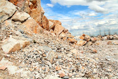 Open quarry of white marble. Mining open quarry of white marble Royalty Free Stock Photos