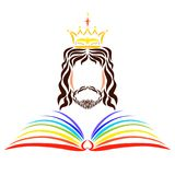 The Open Rainbow Book of Life before the Reigning Lord Jesus.  stock illustration