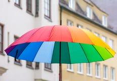 Open rainbow coloured umbrella Royalty Free Stock Photos