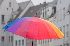Open rainbow coloured umbrella Royalty Free Stock Image