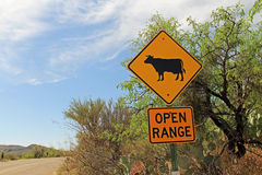 Open Range Cattle Crossing Warning in Arizona Royalty Free Stock Photos
