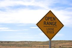 Open range sign. Stock Photo
