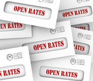 Open Rates Envelope Pile Increase Marketing Advertising Success Stock Photos