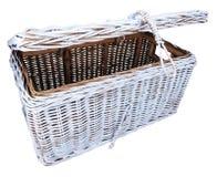 Open rattan linen chest Stock Images
