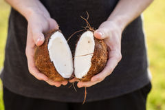 Open raw coconut Stock Photography