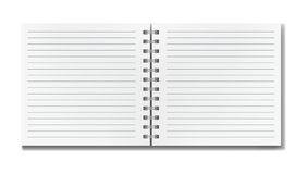 Open realistic line ruled square notebook mockup. Blank realistic  open lined square notebook with shadow template. Notepad with blank opened ruled page on Royalty Free Stock Image