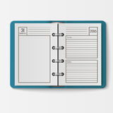 Open realistic notebook with pages diary office sheet template booklet and blank paper education copybook organizer Stock Photography