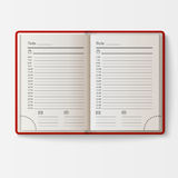 Open realistic notebook with pages diary office sheet template booklet and blank paper education copybook organizer Royalty Free Stock Image