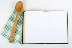 Open recipe book on white background. Open recipe book on white background Stock Images