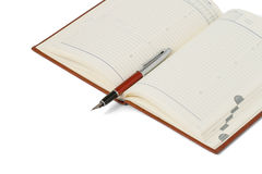 Open daily records. Pen. Opened notepad to record. Isolated on a white background. Pen Stock Photos