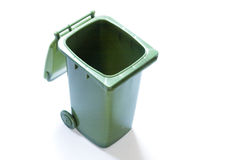 Open recycle bin. Green plastic recycle bin wot open lid seen from above Stock Photography