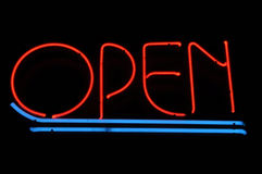 Open Red and Blue Neon Sign Stock Images