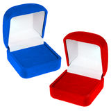 Open red and blue velvet boxes Royalty Free Stock Image