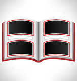 Open red book on grayscale Royalty Free Stock Image