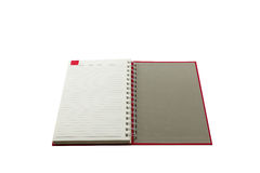 Open red book with lines . Royalty Free Stock Photography