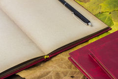 Open red book, yellow autumn foliage. Open red book and pen, autumn yellow foliage Stock Photo