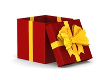 Open red box with golden bow on white background. Isolated 3D illustration.  stock illustration