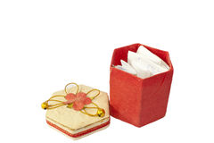 Open red box and paper. Royalty Free Stock Photos