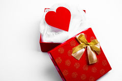 Open red box with valentine heart Royalty Free Stock Photos
