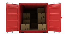 Open red cargo freight shipping container with cardboard boxes isolated on white. 3d illustration Royalty Free Stock Photography