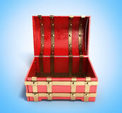Open red chest empty 3d render on blue gradient background. Open red chest empty 3d render on blue gradient Stock Image