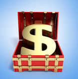 Open red chest with Golden dollar sign 3d render on gradient bac Royalty Free Stock Photos