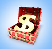 Open red chest with Golden dollar sign 3d render on gradient bac Stock Photos