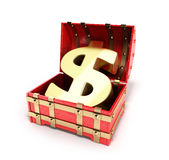 Open red chest with Golden dollar sign 3d render  Royalty Free Stock Photo