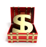 Open red chest with Golden dollar sign 3d render on a white back Stock Images