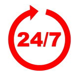 Always open. Red 24 upon 7 into circle arrow in white background Stock Photography