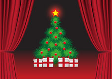 Open red curtain with the Christmas tree. Stock Images