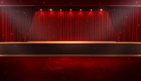 Open red curtain. 3d rendering of Background with a red curtain and a spotlight. Festival night show poster. Open red curtain. event premiere poster royalty free illustration