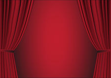 Open red curtain Stock Photos