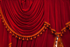 Open red curtains with glitter opera or theater background Stock Image