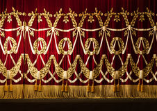 Open red curtains with glitter opera or theater background Stock Photography