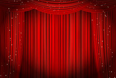Open red curtains with glitter opera or theater background stock illustration