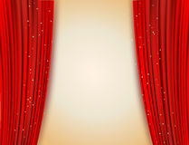 Open red curtains with glittering stars background Stock Image