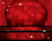 Open Red Curtains with Seats and Copy Space. Royalty Free Stock Image