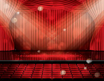 Open Red Curtains with Seats and Copy Space. Stock Photos