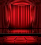 Open Red Curtains with Seats and Copy Space. Stock Images
