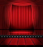 Open Red Curtains with Seats and Copy Space. Royalty Free Stock Photos