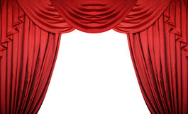 Open red curtains on white background. Theater or movie presentation with space for text Stock Photo