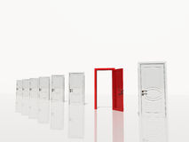 Open red door in of several white doors white space. Single open red door in of several white doors white space Royalty Free Stock Photography