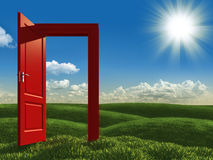 Open red door to the meadows. Surreal landscape of open red door on green meadows Stock Photography