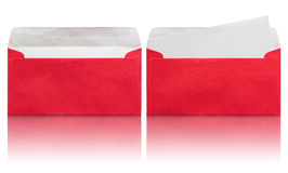 Open red envelope with blank letter Royalty Free Stock Photos