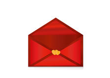 Open red envelope with departing red hearts. Valentine`s Day. Royalty Free Stock Image
